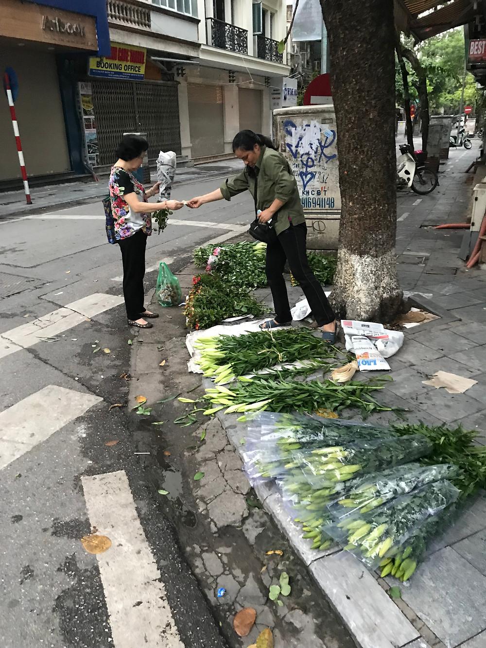 Mobile flower store in Hanoi Vietnam
