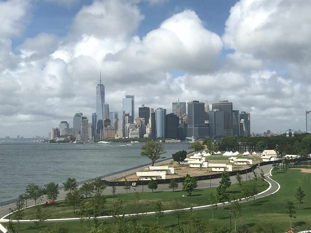 NYC skyline view from Outlook Hill, Governor's Island, New York