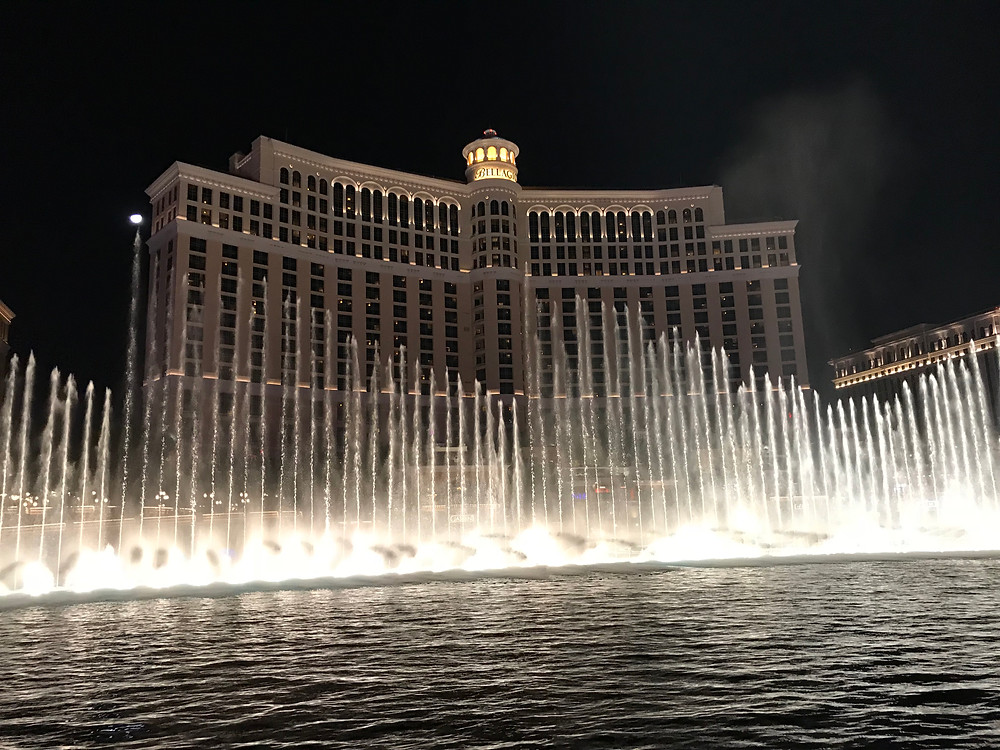 Bellagio hotel fountain show, one of our family's favorites during our vacation