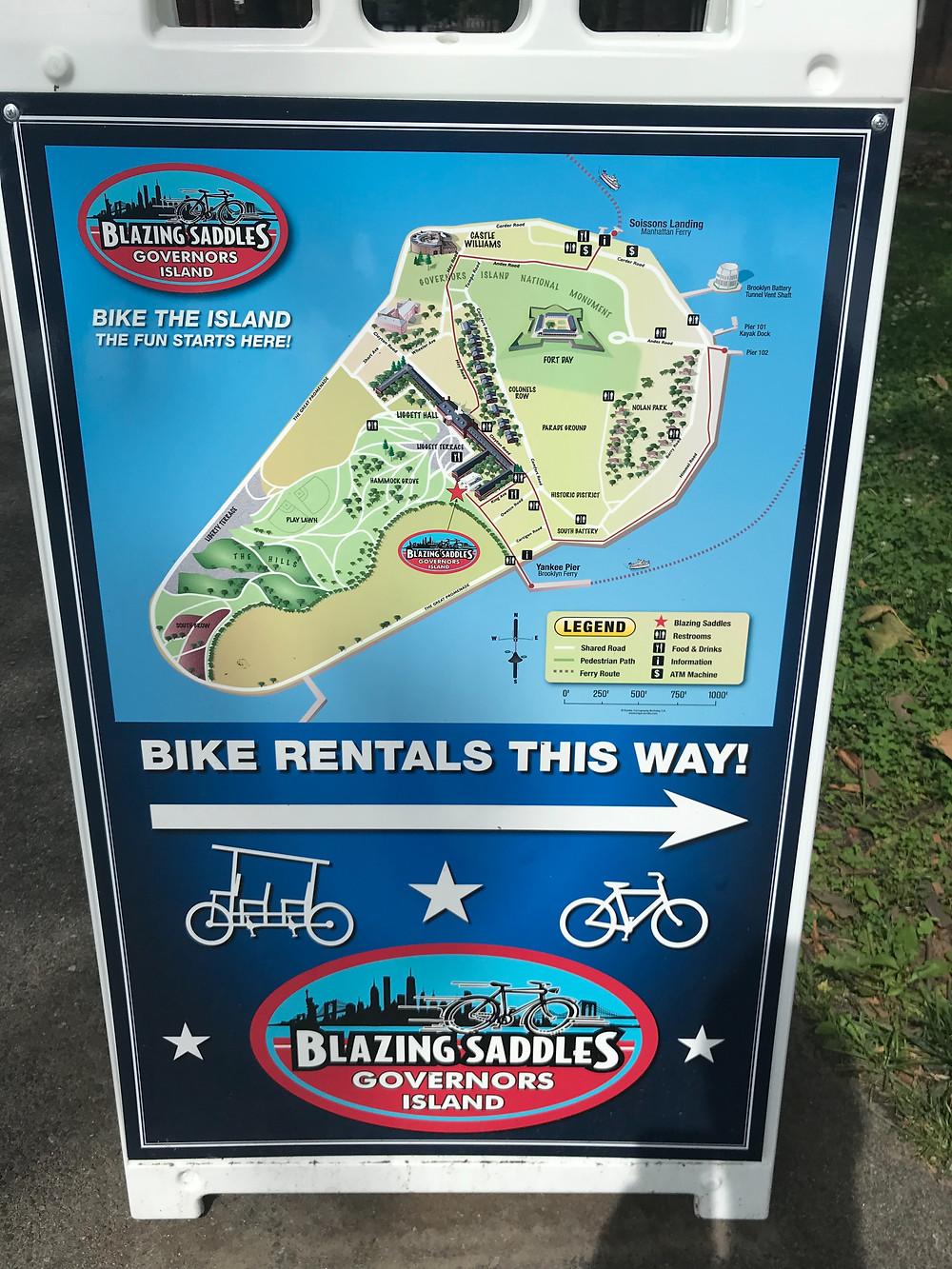 Bike map around Governor's Island