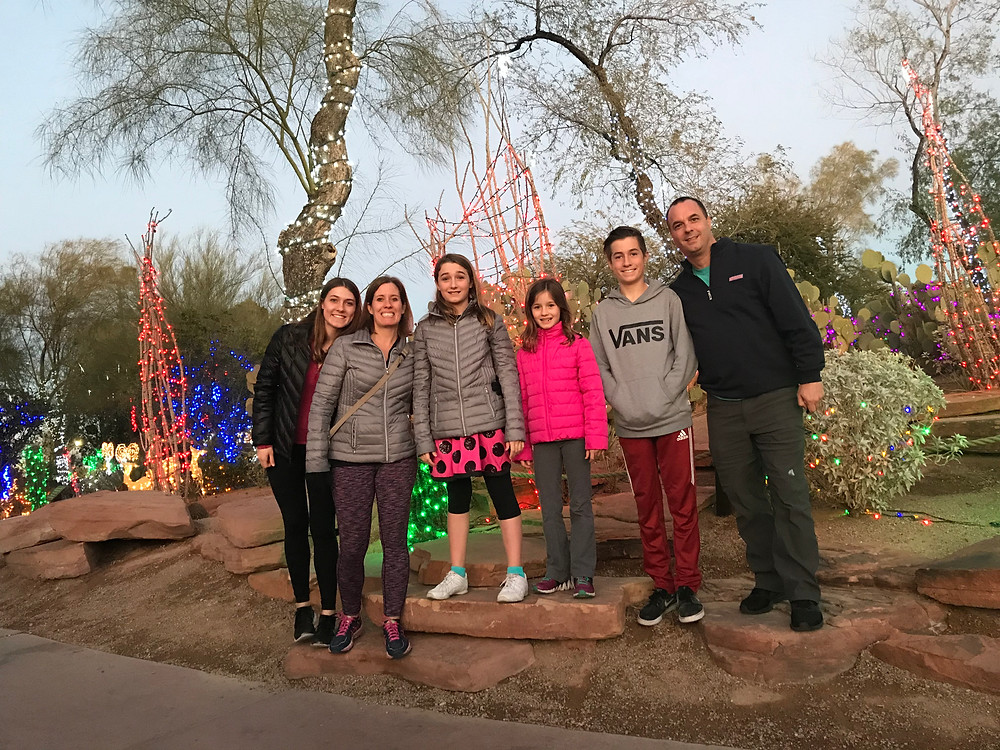 Ethel M Chocolate Factory's cactus garden decorated for Christmas.
