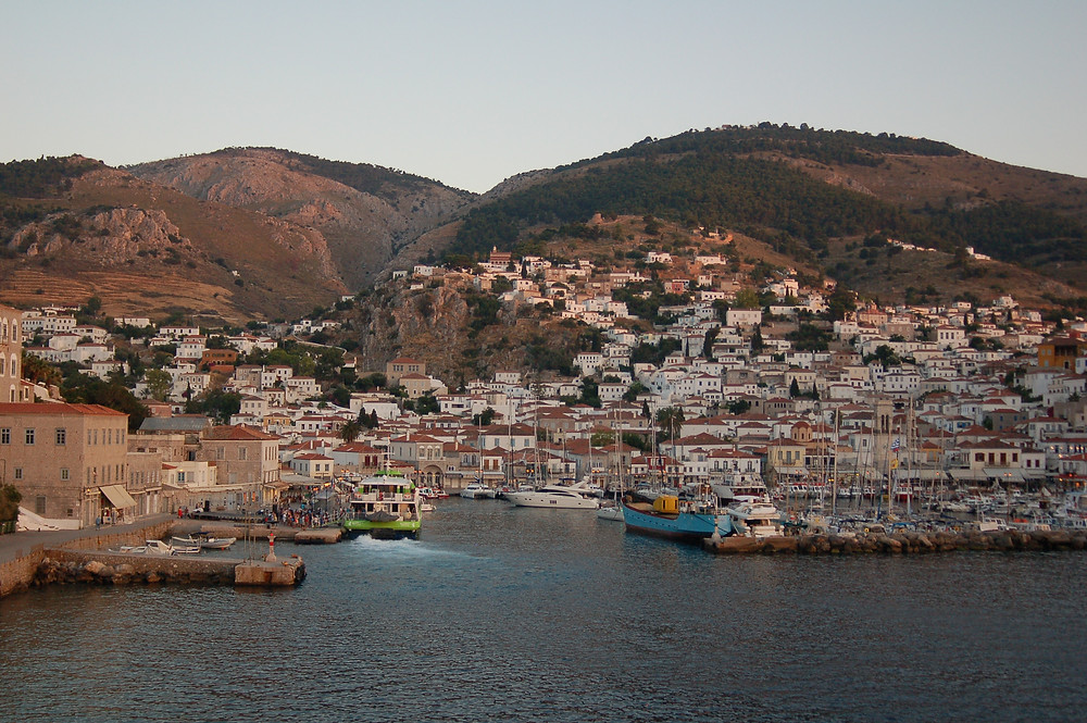 Entering one of our port stops of Hydra.