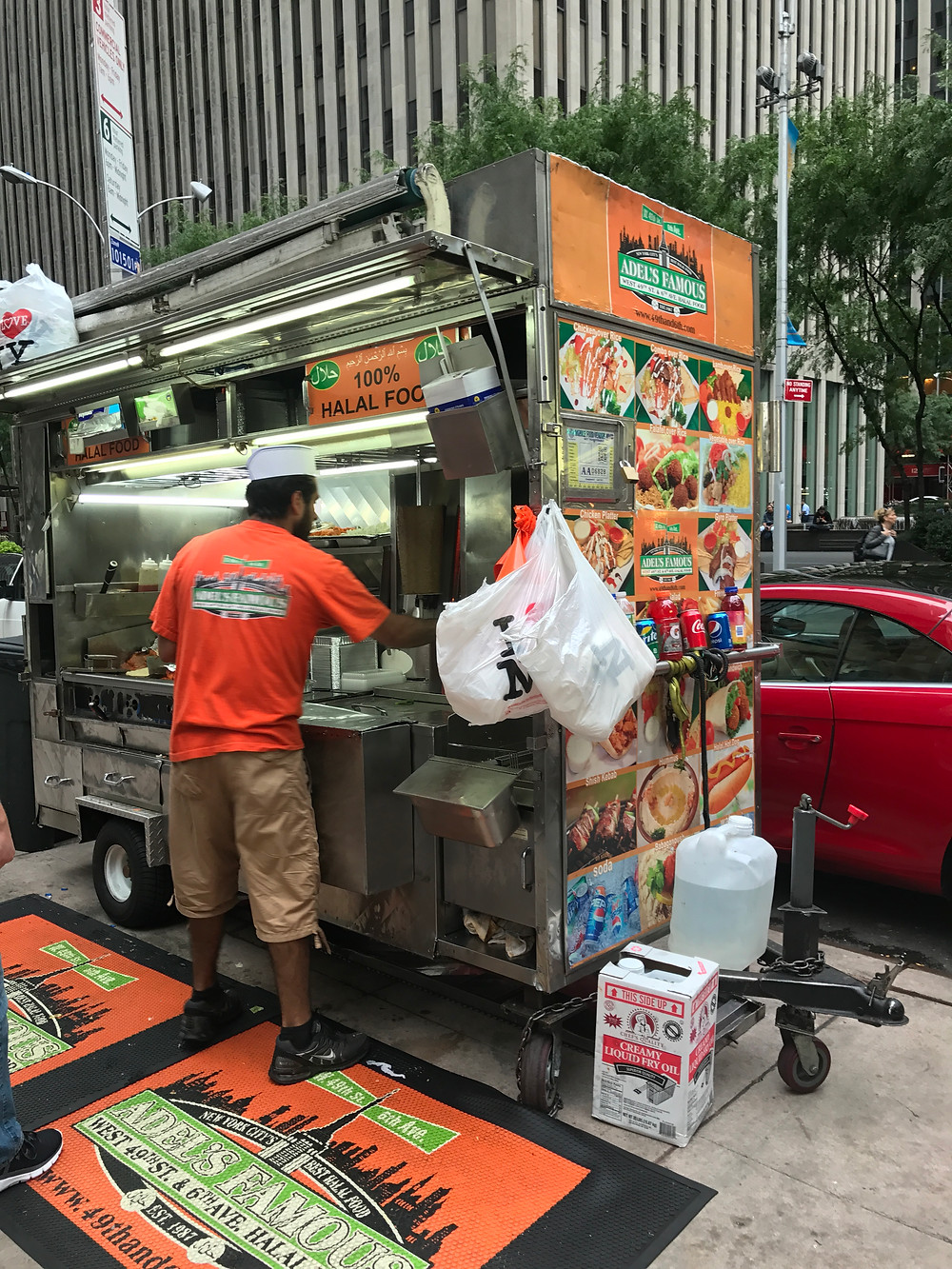 There are loads of Halal stands across NYC. This is the one we go to by Radio City.