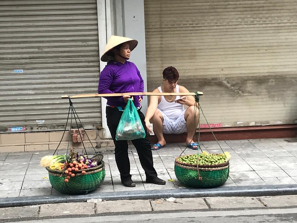 Hanoi Vietnam mobile fruit seller from market