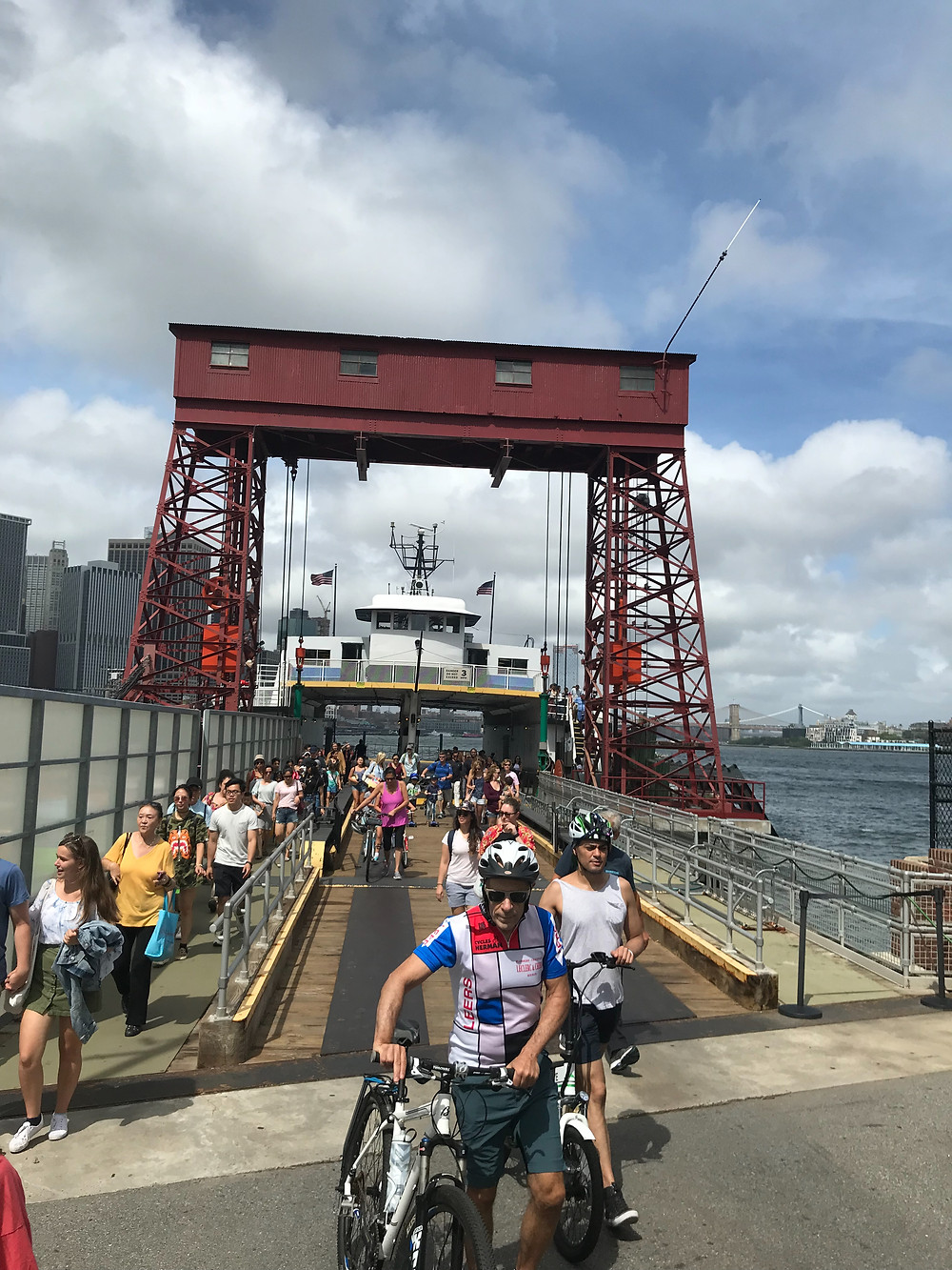 Getting off the ferry at Governor's Island, New York, New York