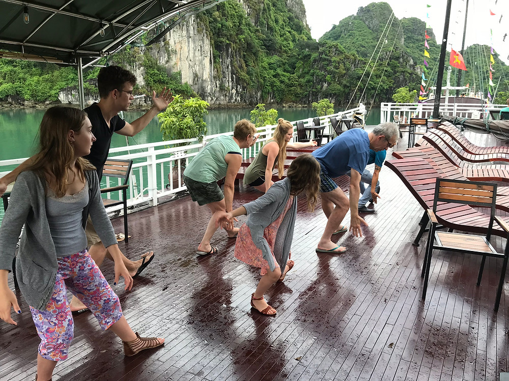 Tai Chi class on our Swan Cruise ship in Halong Bay Vietnam