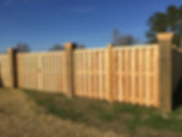 "Cedar Shadow Box Style Fence with 12""X12"" Wood Gate Posts and 6""X6"" Line Posts, by Benoit Fence of Houma, Inc."