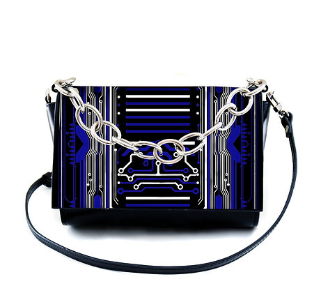 BLUE DIGITAL CIRCUIT PRINT LEATHER CHAIN CROSSBODY