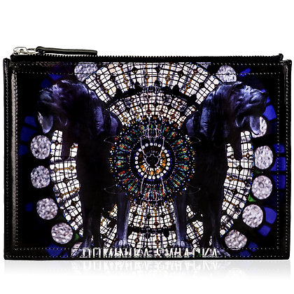 BLOODHOUND PRINTED LEATHER CLUTCH BAG