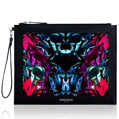LEAVES PRINT LEATHER LARGE CLUTCH BAG