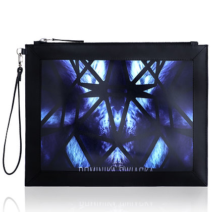 BLUE ELECTRIC FUR LEATHER PRINT LARGE CLUTCH BAG