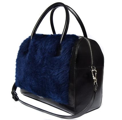 BLUE WOOL FUR BOWLER BAG