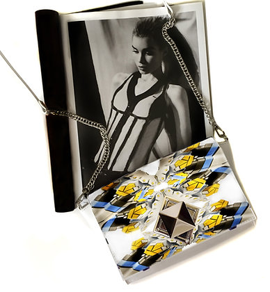 YELLOW TRANSFORMER PRINT LEATHER PYRAMID CLASP CROSSBODY