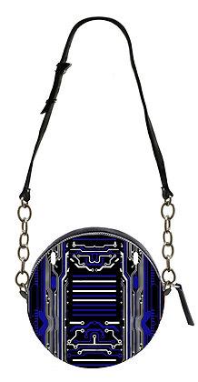 BLUE DIGITAL CIRCUIT PRINT LEATHER ROUND SHOULDER BAG