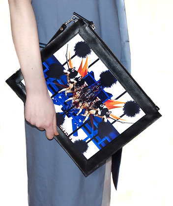 BLUE PARADISE PRINT LEATHER LARGE CLUTCH BAG