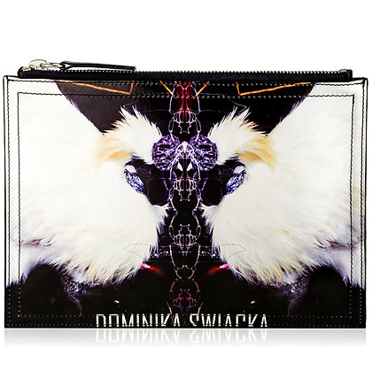 GRAND POULET PRINTED LEATHER CLUTCH BAG