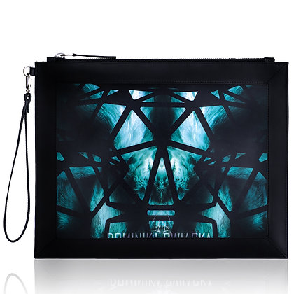GREEN ELECTRIC FUR LEATHER PRINT LARGE CLUTCH BAG