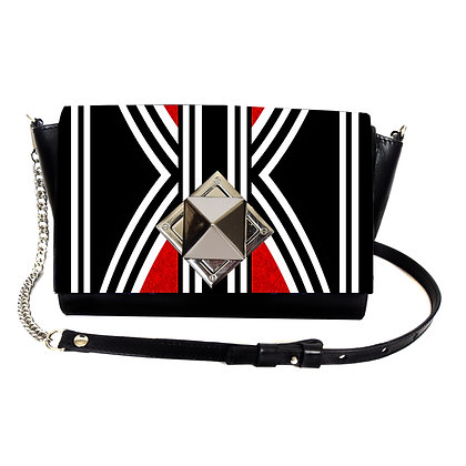 RED STRIPES PRINT LEATHER PYRAMID CLASP CROSSBODY