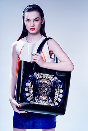 BLOODHOUND PRINTED LEATHER TOTE BAG
