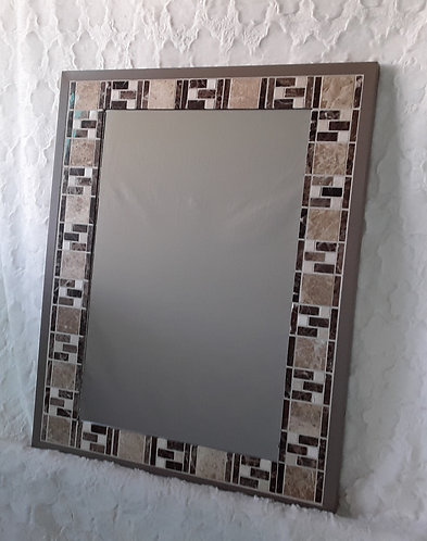 Brown tone stone and tile mirror