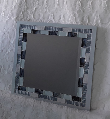 Blue and white tile mirror