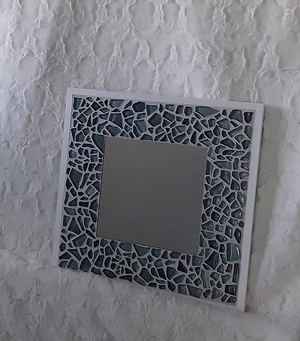 Soft blue mosaic with white frame