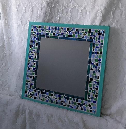 Aqua, blue and green glass tile mosaic mirror