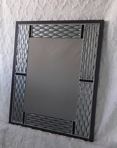 Gray and black contemporary tile mirror