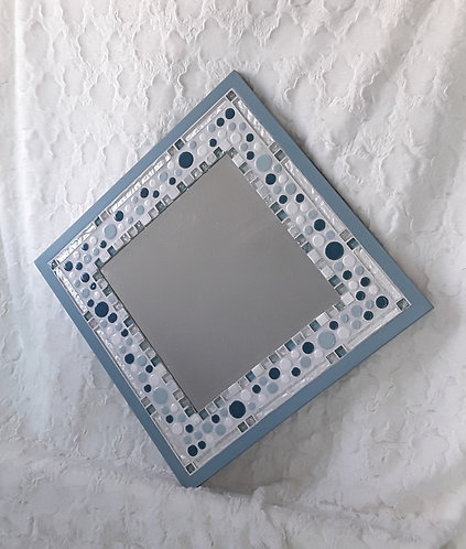 Blue and white bubble mirror- can be hung either way