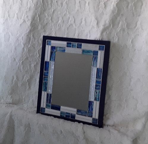 Bright blue and white mirror