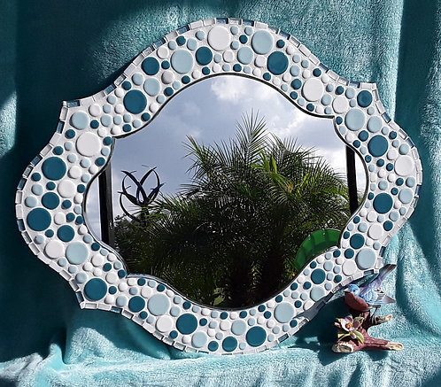 Oval shape mirror with round blue and teal tiles