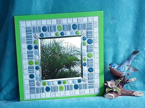 Small funky mirror in blues and green