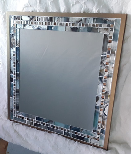 Teal and copper accent mirror