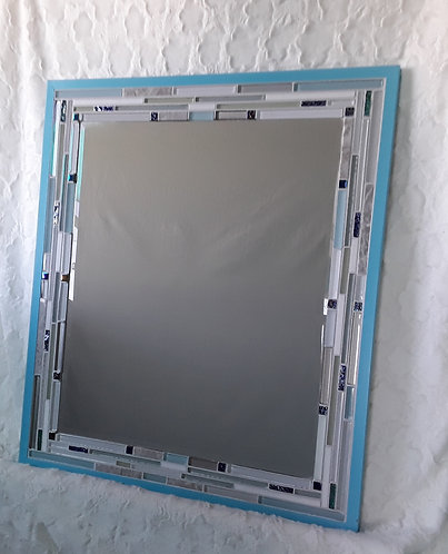 Blue, white and gray mirror