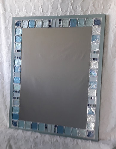 Large blue and white mirror
