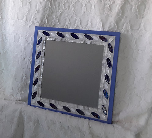 Periwinkle and white tile mirror