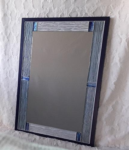 Blue and silver contemporary mirror