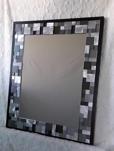 Gray, black and white contemporary tile mirror