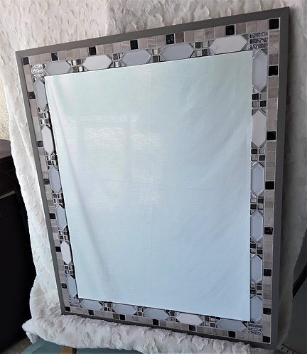 Large mirror with white glass and gray stone