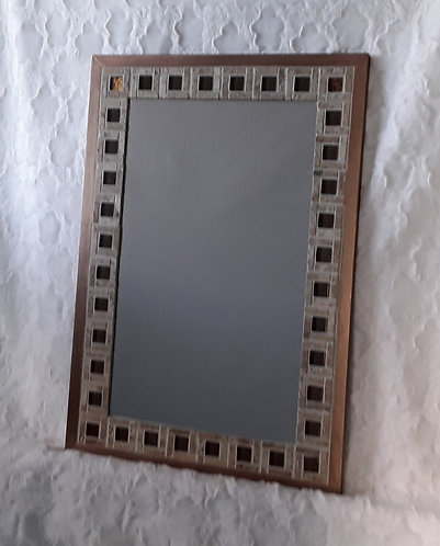 Stone and glass mirror
