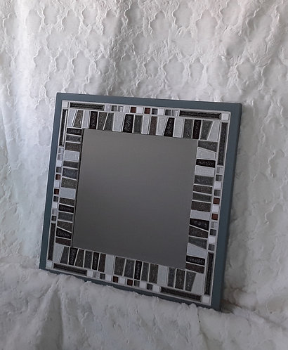 Gray, white and taupe funky mirror