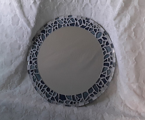 Round blue and white mosaic tile mirror