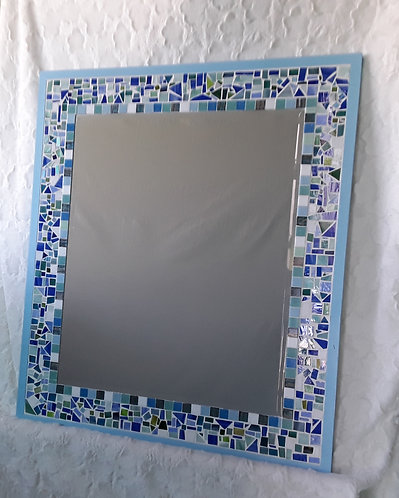 Bright blue toned mosaic mirror