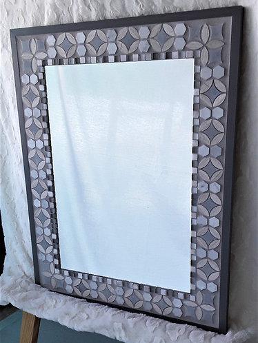 Elegant gray stone and glass tile mirror