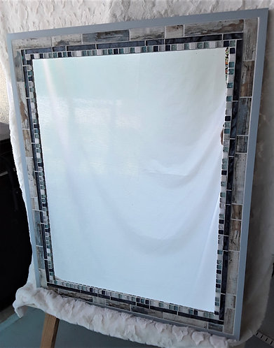 Driftwood and Blue sparkle tile mirror