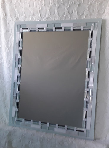 Green, gray and white tile mirror