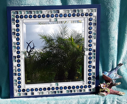 Mirror with blue and white tile