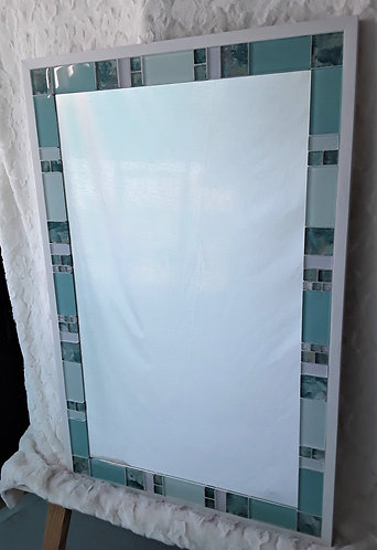 Large turquoise and white glass tile mirror