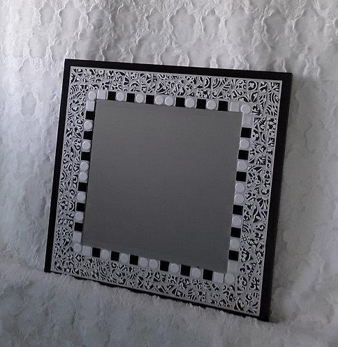 Black and white broken tile mosaic mirror