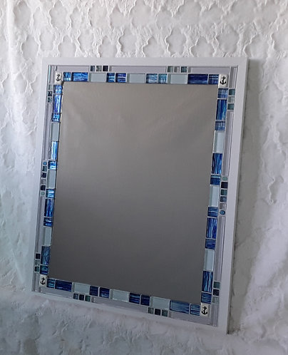Blue and white mirror with anchor accents